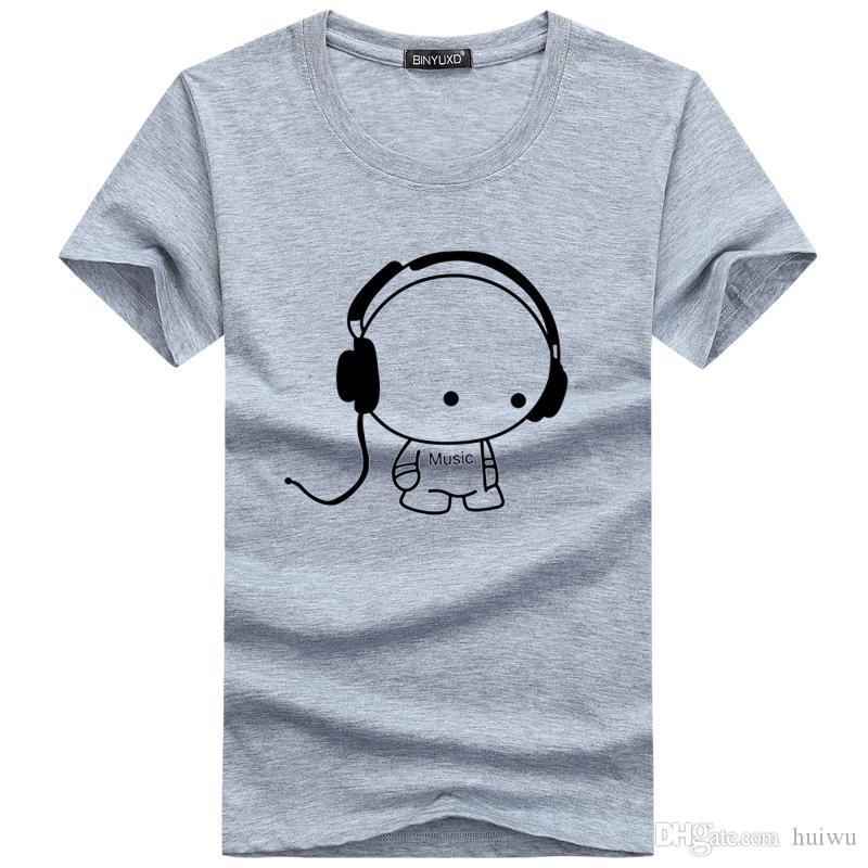 أعلى جودة تي شيرت أزياء سماعة كارتون مطبوعة عادية تي شيرت رجال العلامة التجارية تي شيرت القطن المحملة القميص زائد الحجم 5XL