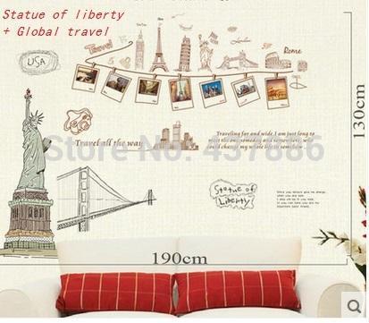 Paris Mediterranean Hollywood Statue of Liberty adesivo de parede Home wall stickers home decor photo frame wall sticker art