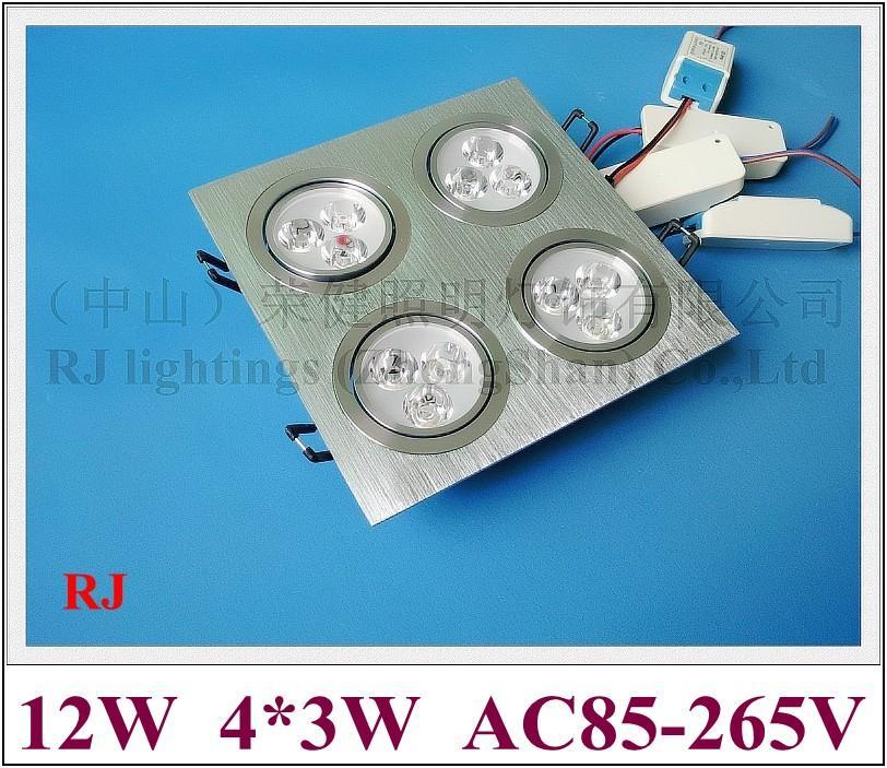 Решетка Светодиодный светильник вниз света потолочный светильник света в помещении 12W (4 * 3W) СИД наивысшей мощности шарика 12pcs AC85-265V алюминий CE