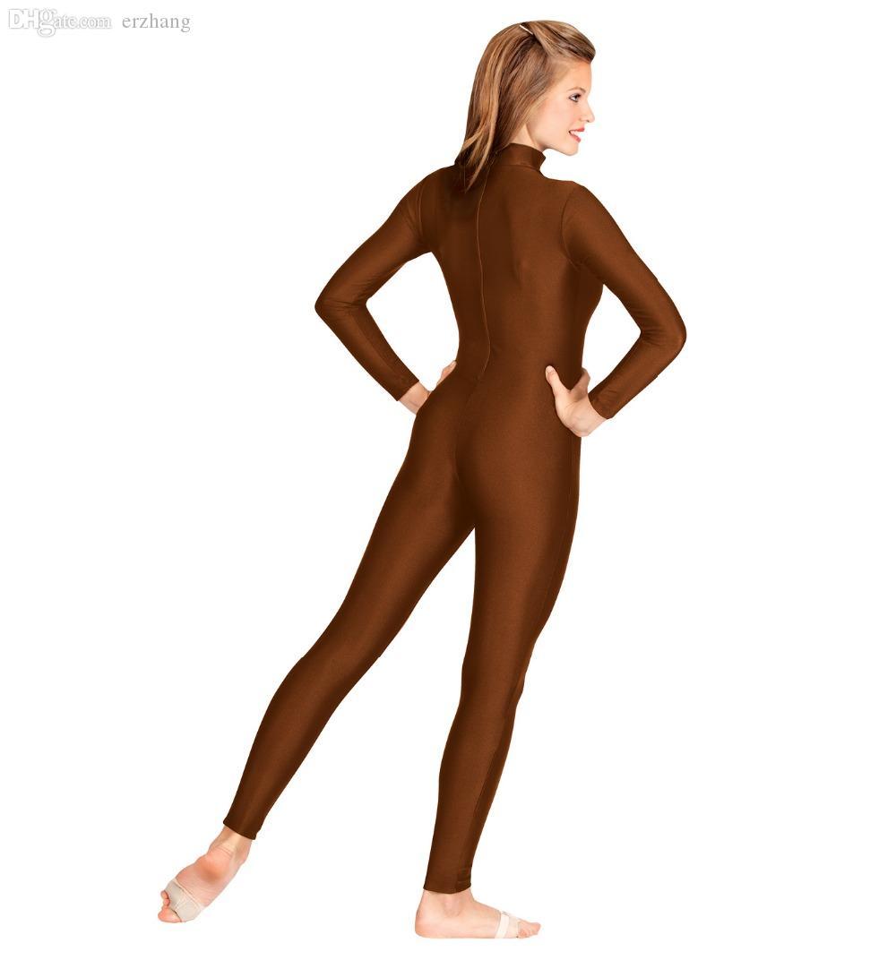 Al por mayor-Adulto Unisex Mock Neck Manga larga Unitard Hombres Nylon Spandex Lycra Unitard Body Longitud completa Dancewear Ballet Leotard