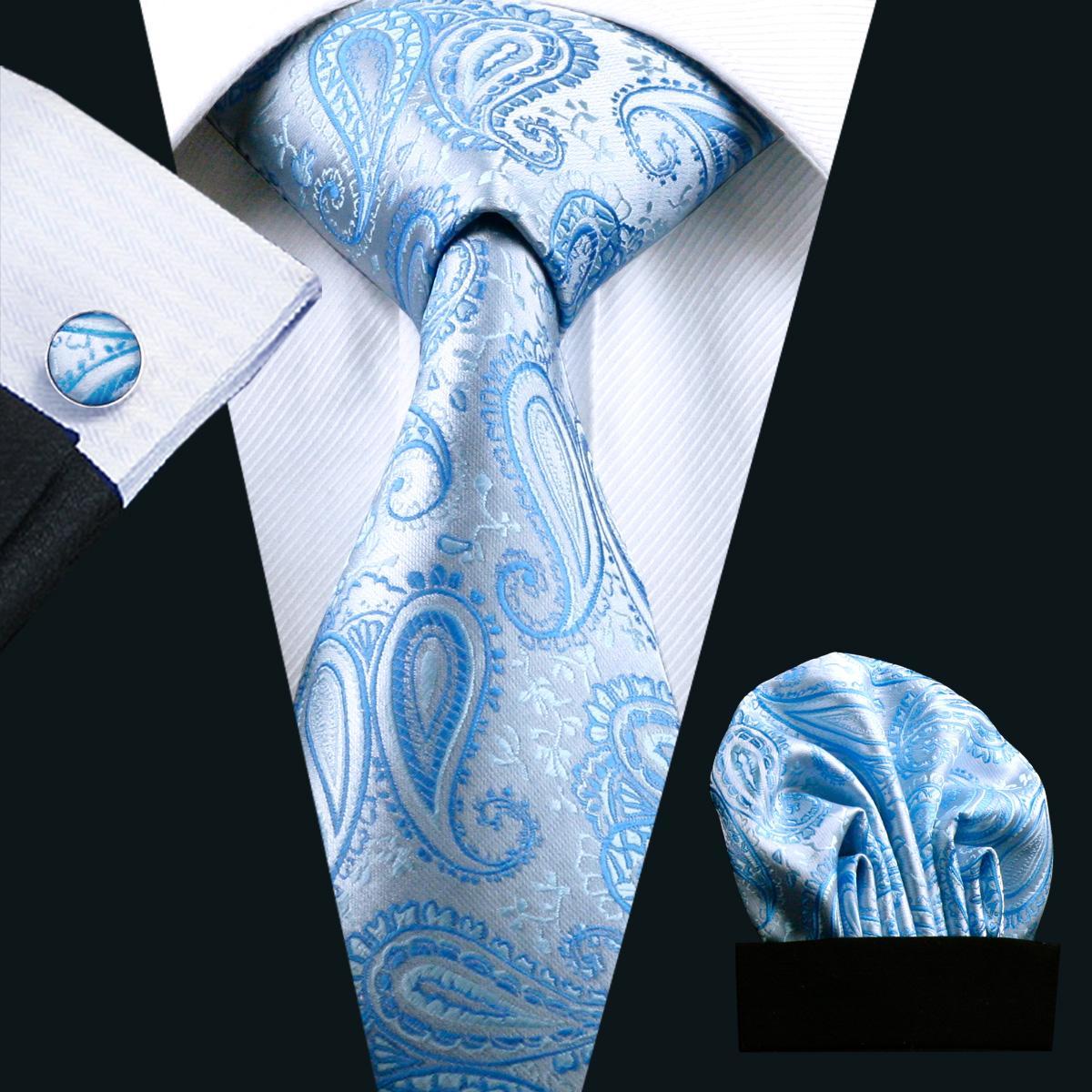 2016 Mode Hommes Bleu Cravate Set Novely Paisley D'affaires Boutons De Manchette Et Hanky Cravates Tissées Pour Hommes Cravate N-0476