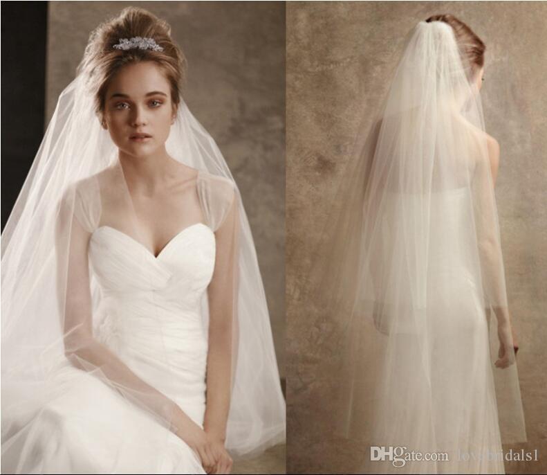 2017 pas cher Solide couleur drapé double couche couverture mariée mariage mariage soft réseau tête chaude avec peigne