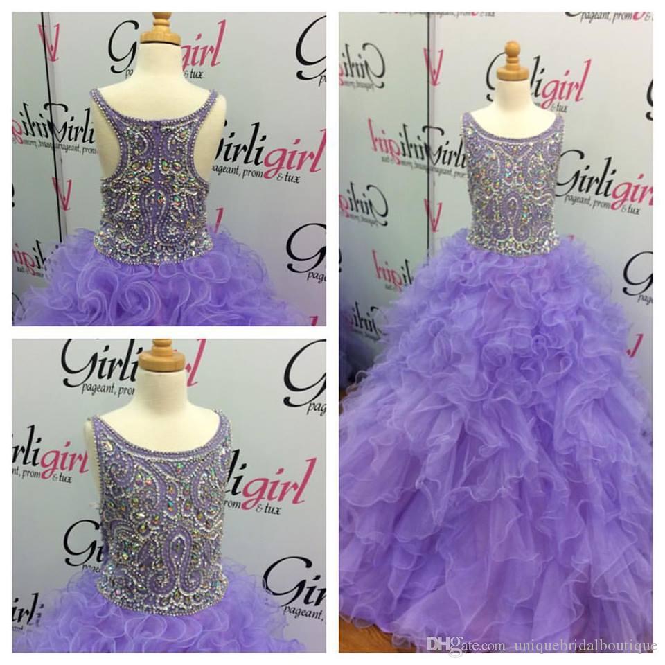Pageant robes de lilas fille 2016 avec corsage de perles majeur et bijou cou images réelles couches superposées organza turquoise Pageant robes enfants