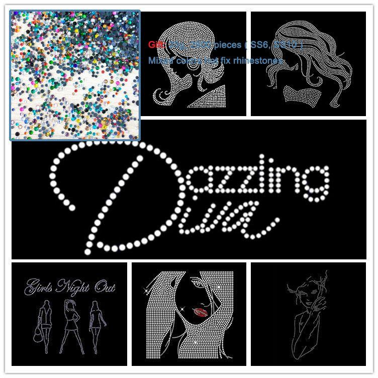 2pcs schillernde Diva Girls Night Out Hot Fix Strass überträgt Motiv Hotfix Applique