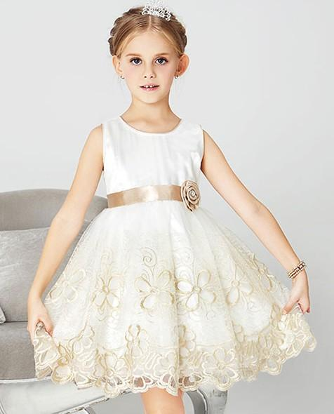 ... Ball Gown Stain Chiffon White Flower Girl Dress with Little Embroidered