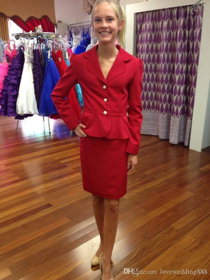 Long Sleeve 2019 Simple Girls Pageant Interview Red V Neck Three Button Girl Beauty Interview Suit to Wear Pageant Dress