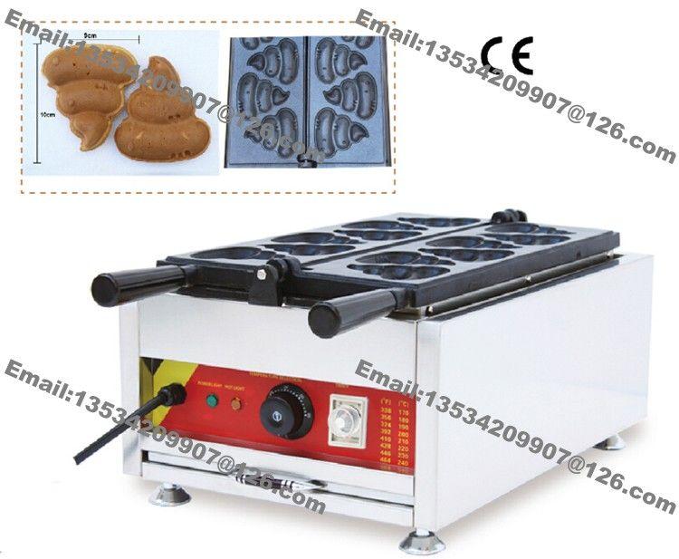 Freies Verschiffen Kommerzielle Nonstick 110 v 220 v Elektrische 6 stücke Koreanische Poop Brot Poo Förmigen Waffeleisen Maschine Bäckerform