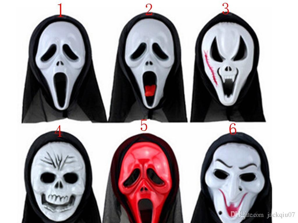 Compre Fiesta De Disfraces De Halloween Cara Larga Calavera Fantasma Scary Scream Máscara Cara Hood Scary Horror Terrible Máscara Con Campana A 086