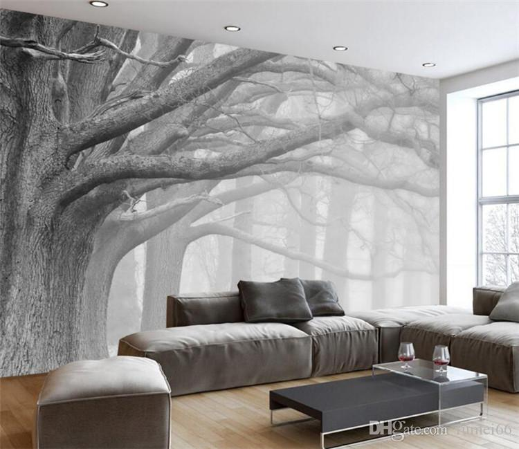 3D Wallpaper Living Room Bedroom Murals Modern Black And White Forest Tree  Art TV Wall Murals Wallpaper For Walls 3 D Movie Wallpaper Movie Wallpapers  ...