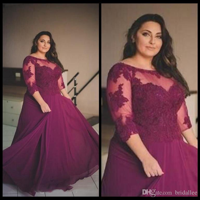 Plus Size Burgundia Prom Dresses 2018 Koronka Aplikacja Pół rękaw Suknie Wieczorowe Sheer Szyfon Szyfonowa Linia Formalna Party Dresses Custom Made