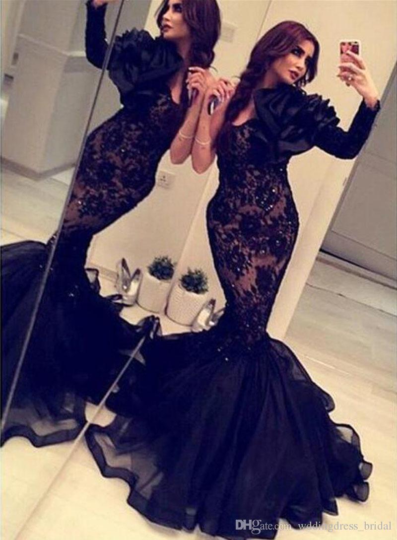 acheter mieux comment avoir Prix de gros 2019 Acheter 2019 Arabe Inde Formelle Sirène Robes De Soirée Noir Dentelle  Organza Manches Longues Robes Occasion Sexy Backless Pas Cher Robe De Bal  Fait ...