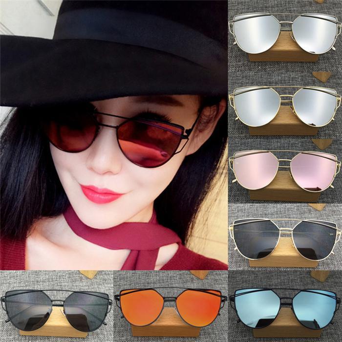 Womens Oversized Cat Eye Sunglasses Flat Mirror Lens Metal Frame Glasses 4 Color