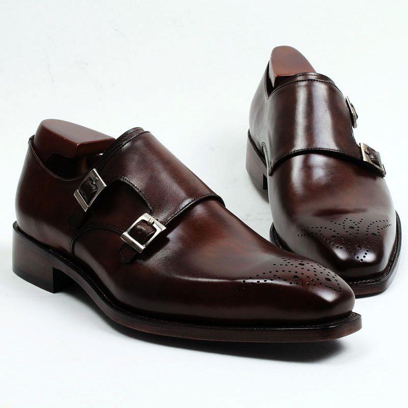 Hommes Chaussures habillées Chaussures moine Chaussures à la main sur mesure Véritable Cuir de veau Couleur Bracelet en cuir brun foncé Double boucles HD-247