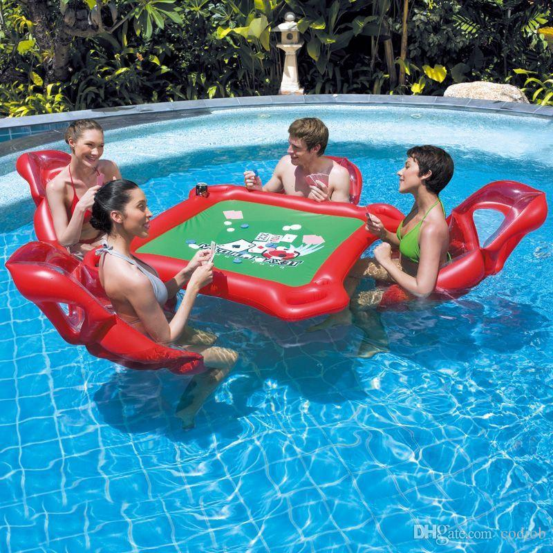 2019 Waterpark Inflatable Mahjong Poker Table Set Floating Row Inflatable Chair Float Fun Pool Toy Outdoor Toys Adults High Quality T1 From Codiob