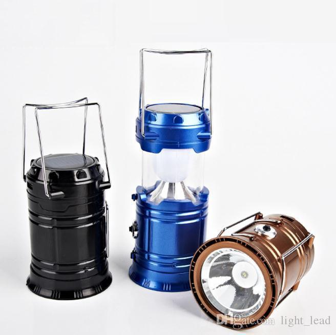 المحمولة بقيادة مصباح يدوي الشمسية التخييم فانوس 6LEDS قابلة للشحن اليد الطوارئ مصباح خيمة ضوء القابلة للطي لالإضاءة في الهواء الطلق