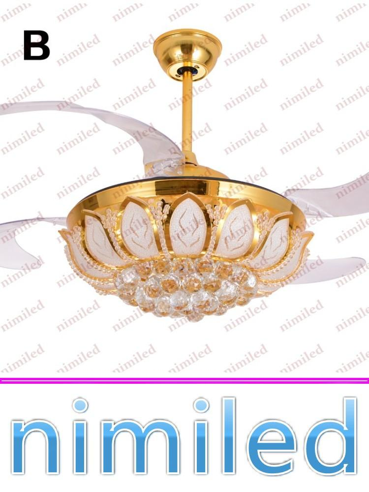 "nimi831 42""(107cm) Modern Invisible Gold LED Crystal Lights Ceiling Fan Lamps Living Room Bedroom Chandelier Dining Pendant Lighting"