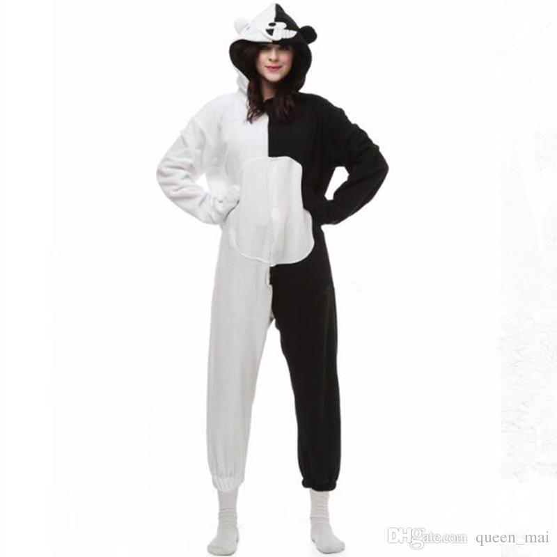 Danganronpa Dangan Ronpa Monokuma Monomi Ayı Polar Onesie Pijama Kostüm Cadılar Bayramı Karnaval Parti Giyim Karikatür Tulum Pijama