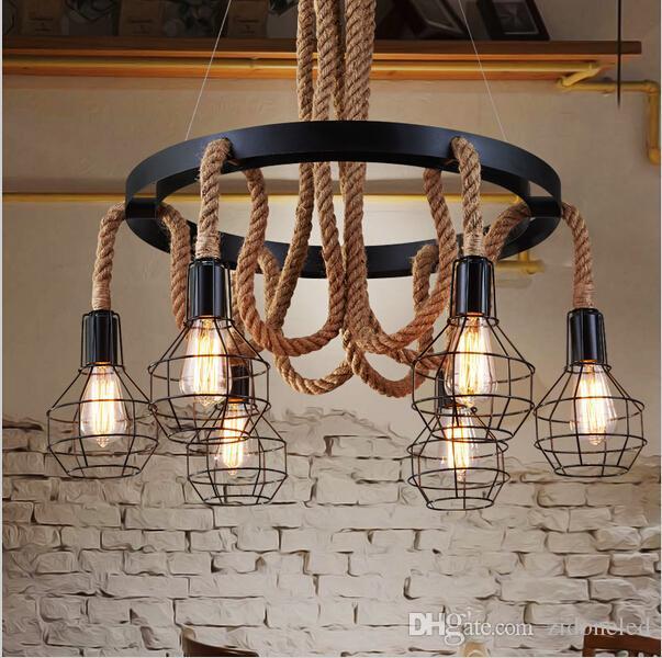 Vintage Led Hemp Rope Pendant Lights Edison Iron Pendant Lamp Industria 6  Heads Chandelier Lighting Fixture For Restaurant Livingroom Coffee Pendants  ...