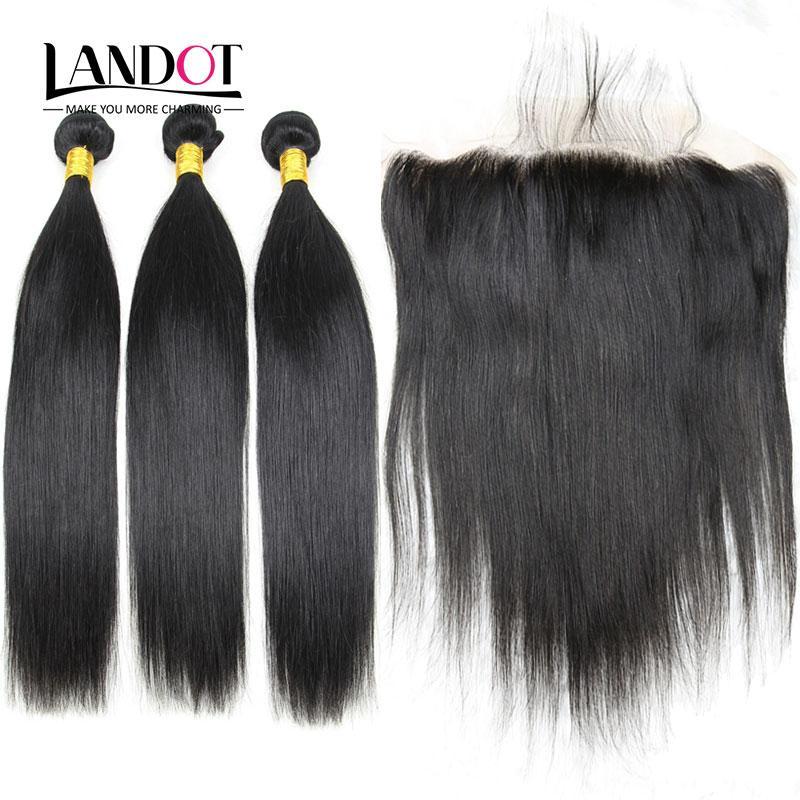 Cierres frontal de encaje con 3 paquetes brasileña peruano indio indio Malasia camboyano mongol vírgenes rectos remy cabello humano tejidos de cierre