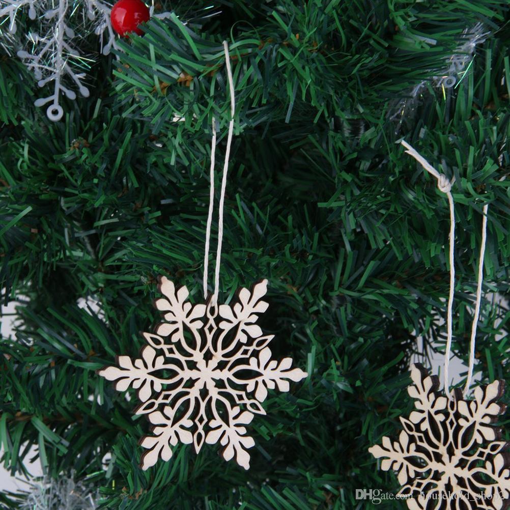Arbre Bois Blanc Decoration acheter joyeux arbre de noël suspendu en bois blanc flocon de neige  ornements décoration de noël fête fête home restaurant décoration 001 de  $1.81 du