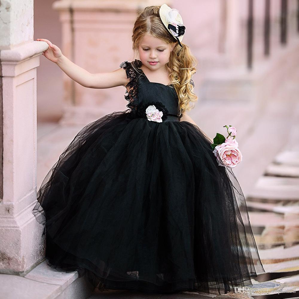 Black Ball Gown Flower Girls Dresses Puffy Tulle Lace Cap Sleeves Open Back  2019 Cheap Girls Pageant Dresses For Gothic Kid Wedding Gowns Girls Formal
