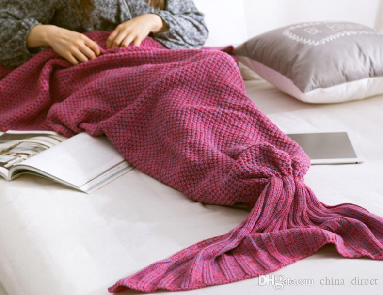 2016 Adult Mermaid Schwanz Decke Crochet Mermaid Decke Mermaid Schwanz Schlafsäcke Strick Sofa Decke 180 * 80 # 4009