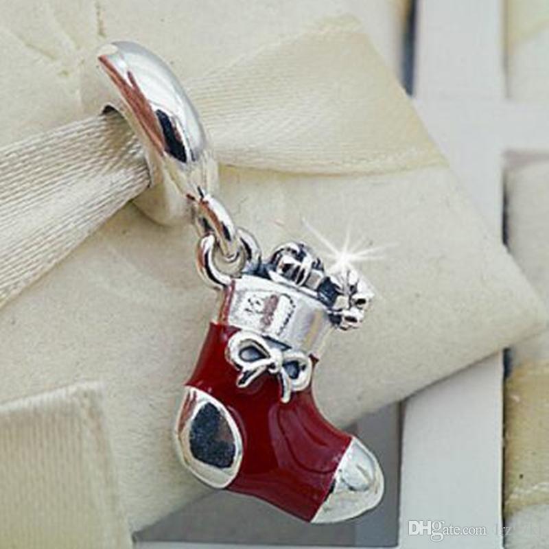 Novo 100% S925 Sterling Silver Festiva Meia Dangle Charme Talão com Esmalte Vermelho Serve Para Pandora Europeu Jóias Pulseiras e Pingente