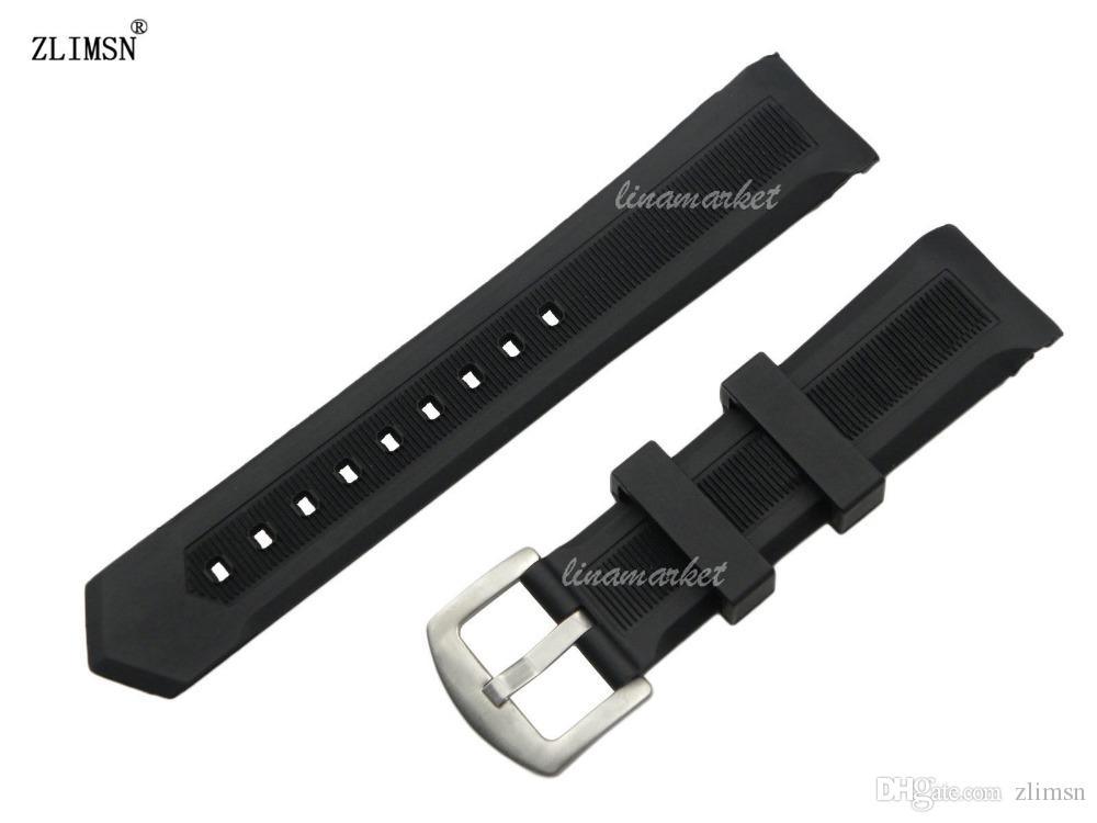 22mm New Black Mergulhador De Borracha De Silicone Curvo fim Assista Banda Strap com pin fivela
