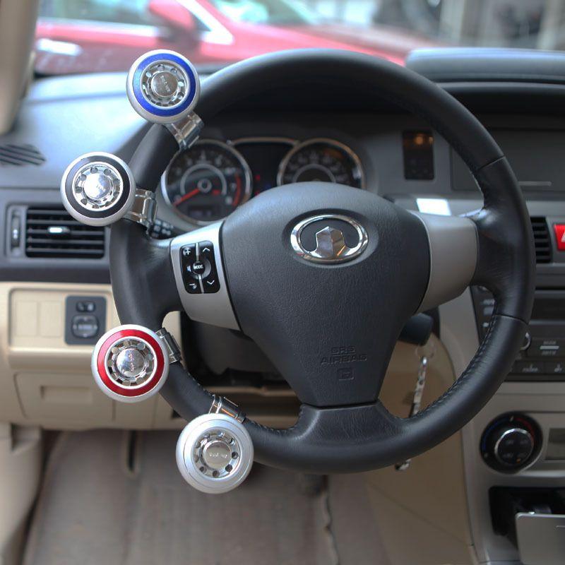 Car Steering Wheel Assist Ball Knob Spinner One-hand Turn Grip Blue Universal 1x
