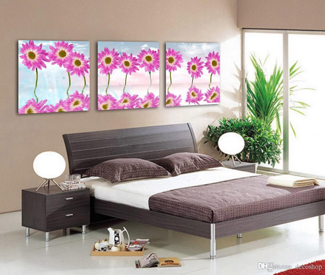 Morden Sunflower Flowers Abstract Floral Painting Print On Canvas Home Wall Decor Set3168