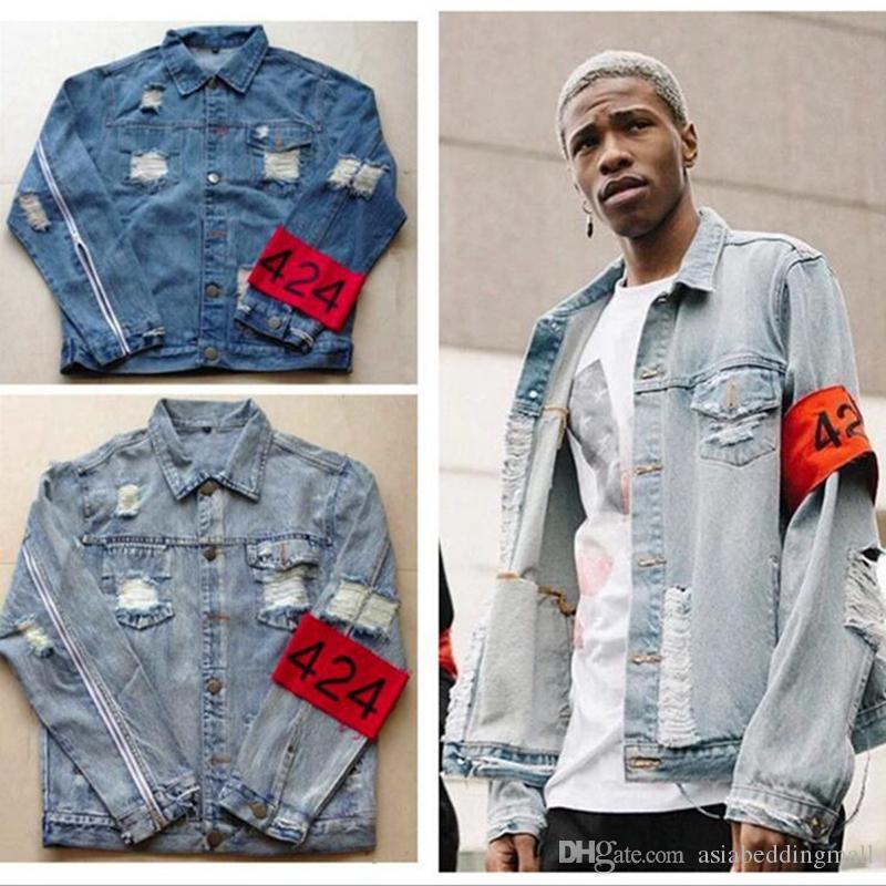 hiphop men's clothes brand clothing fear of god Four Two Four 424 spring summer broken hole jeans designer ripped denim jacket