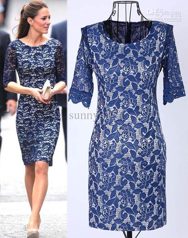 Spring New Fashion Women Clothing Kate Middleton Lace Dress Lady Elegance Leggings Slim Blue Celebrity Dresses for woman