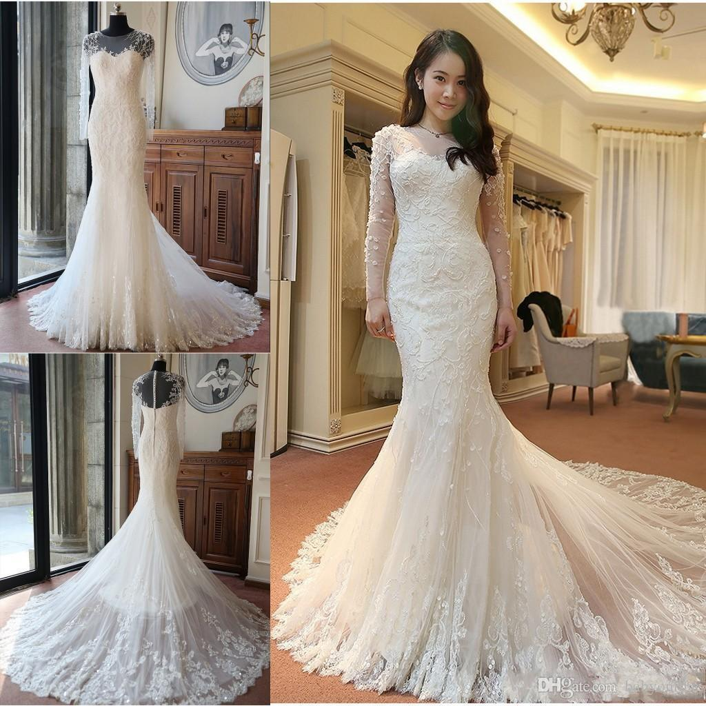 New Luxury Sheer Crew Neck Long Sleeves Wedding Dresses Sheer Crew Neck Long Sleeves Lace Appliques Mermaid Bridal Gowns with Train