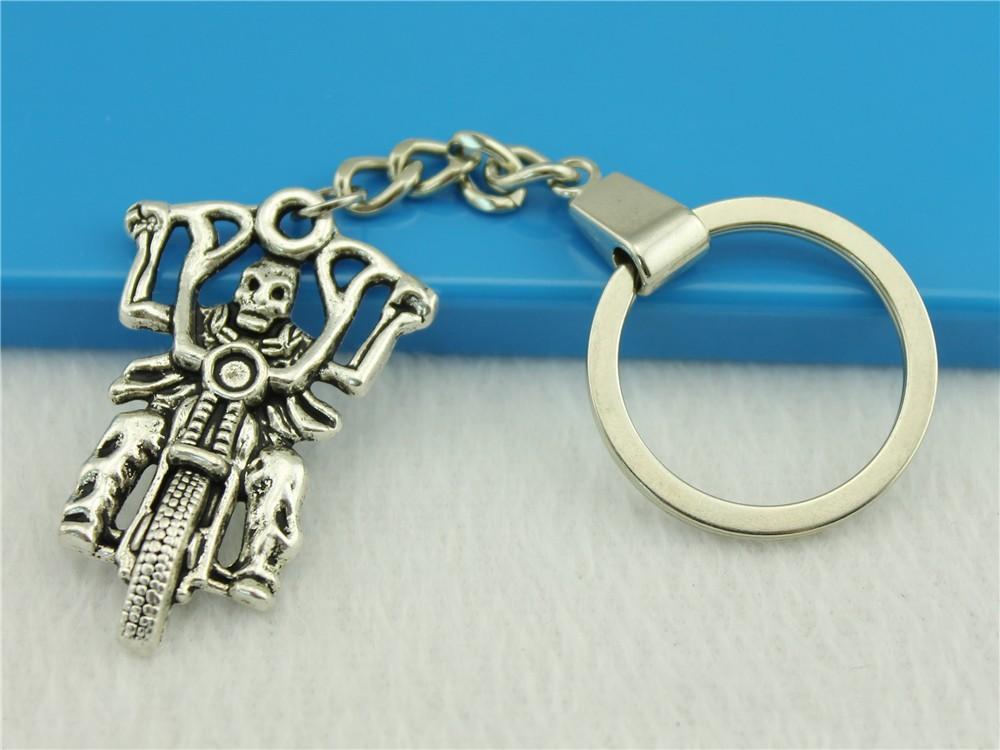 Toptan Satış - Toptan-WYSIWYG Erkekler Takı Anahtarlık, Yeni Moda Metal Anahtar Zincirleri Aksesuar, Vintage Motosiklet Kafatası Soul Chariot Anahtar Yüzükler