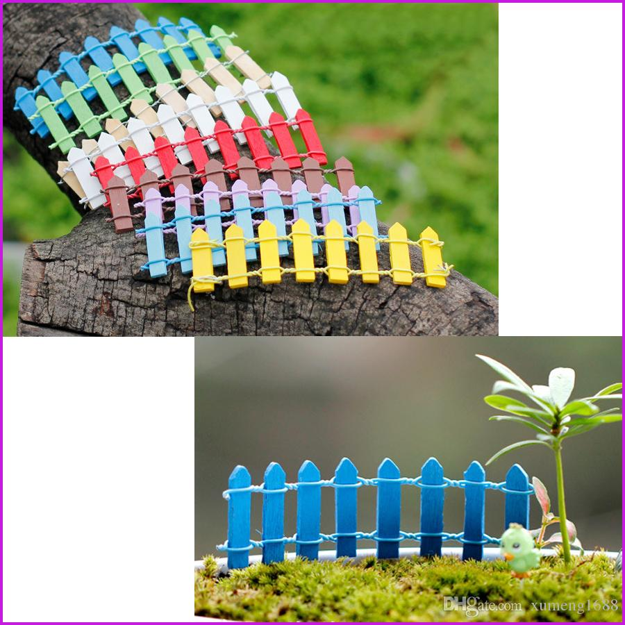(10 Colors) Mini Small Fence Barrier Wooden miniatures wood Craft Fairy Garden Palings Showcase home garden decorations