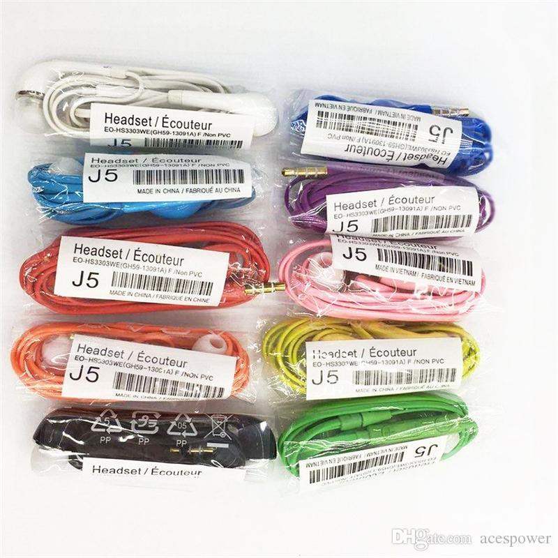 Auricolari J5 colorati da 3,5 mm con cuffia auricolare di controllo volume con microfono universale auricolari per Samsung senza confezione