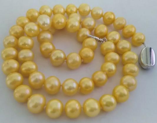 Classico naturale 8-9mm south seas oro collana di perle 18inch chiusura in argento 925