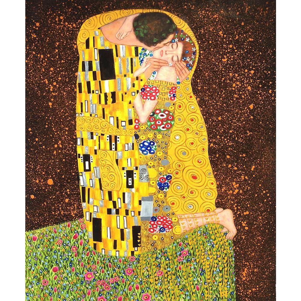 Pinturas decorativas Gustav Klimt O Beijo vista completa Da arte Da Lona para a decoração da parede pintados à mão óleo sobre tela