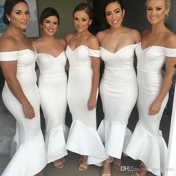 Cheap Mermaid Long Bridesmaid Dresses Off Shoulder Satin Evening Dresses High Low Ruffles Plus Size Maid Of Honor Party Gowns