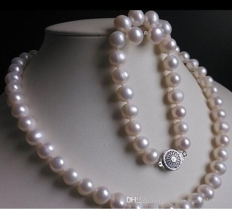 schöne 9-10mm Armband Perlenkette natürliche Weiß Südsees Ohrring