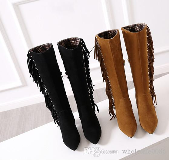 New Hot Fashion Women's Shoes Ladies Faux Suede Ribbons Block Heel Zip Pointed Toe Knee Boots UKB579 UK Size 1.5 -8.5