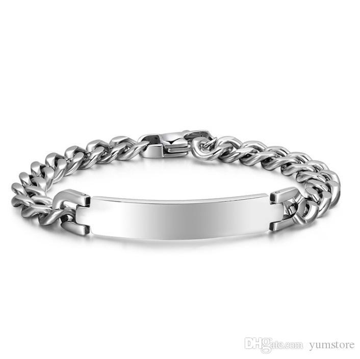 Bracciale semplice da uomo in acciaio inossidabile con bracciali a maglie a braccialetti con polsini alti per i regali