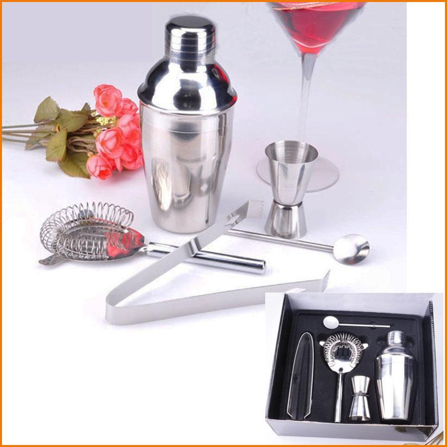(5 Pçs / set) Conjuntos de Barra de Aço Inoxidável Prático 350 ML Cocktail Shaker Mixer Bebida Barman Kit Barras Eco-Friendly Conjunto de Ferramentas