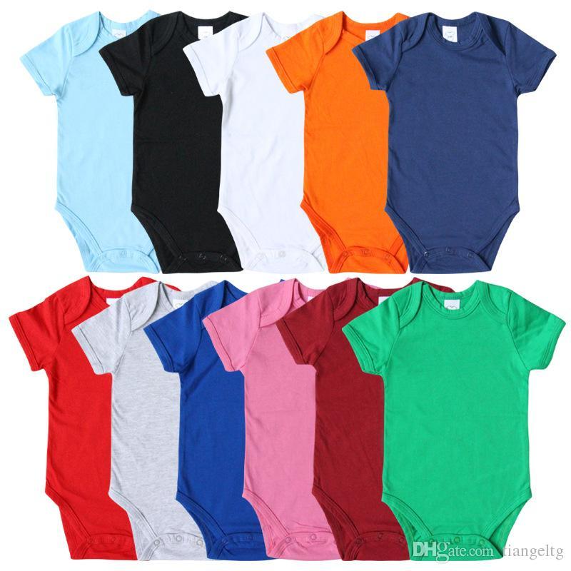 Rompers младенца сплошного цвета с коротким рукавом Хлопок Здоровый новорожденный Комбинезоны нескольких цветов Infant Цельный Одежда 0-12M