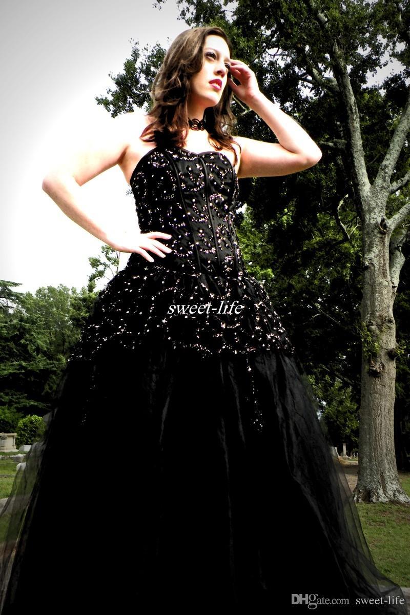 Cheap 2016 Newest Designer Gothic Black Wedding Dresses Sexy ...