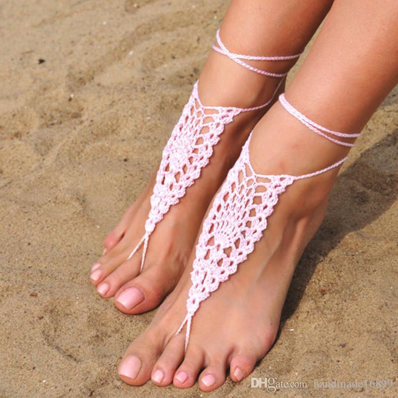 Häkeln Sie weiße barfuss Sandalen, Fuß Schmuck, rosa barfuss Sandalen, Strand, Fußkette, Hochzeitsschuhe, Strand Hochzeit, Sommer Schuhe