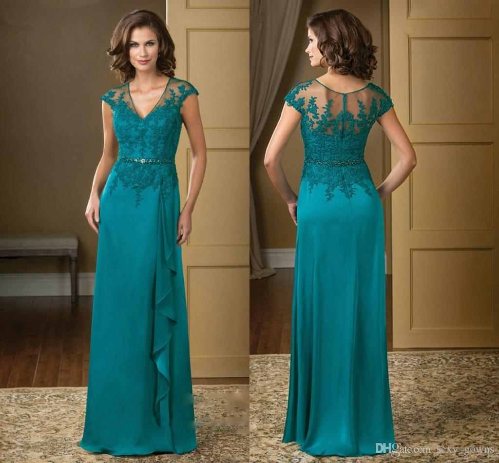 Turquoise Wedding Dress 2016 V Neck Lace Appliques Chiffon Mother Of ...