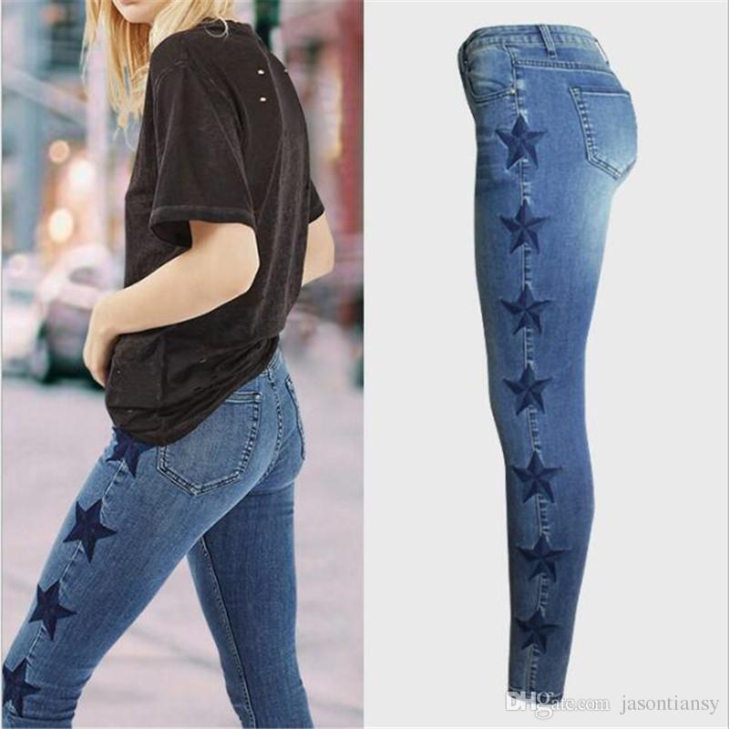 Compre Hodisytian Nueva Moda Mujer Jeans Flaco Mediados De Cintura Pantalones De Mezclilla Bordado Estrellas Pantalones Lapiz Pantalones Elasticos Pantalon Femme A 18 36 Del Jasontiansy Dhgate Com