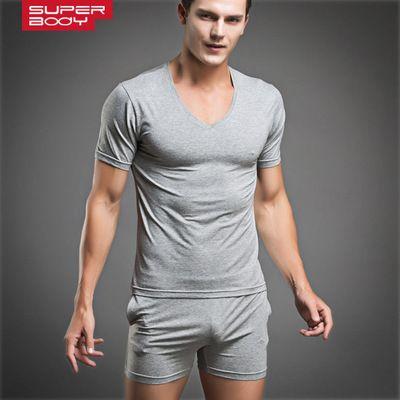 Wholesale-Men T Shirts Cotton Pajamas Set  Sexy Sleepwear Sets Mens Undershirts Tees Casual Short Sleeve Tshirt O Neck Men Trunks