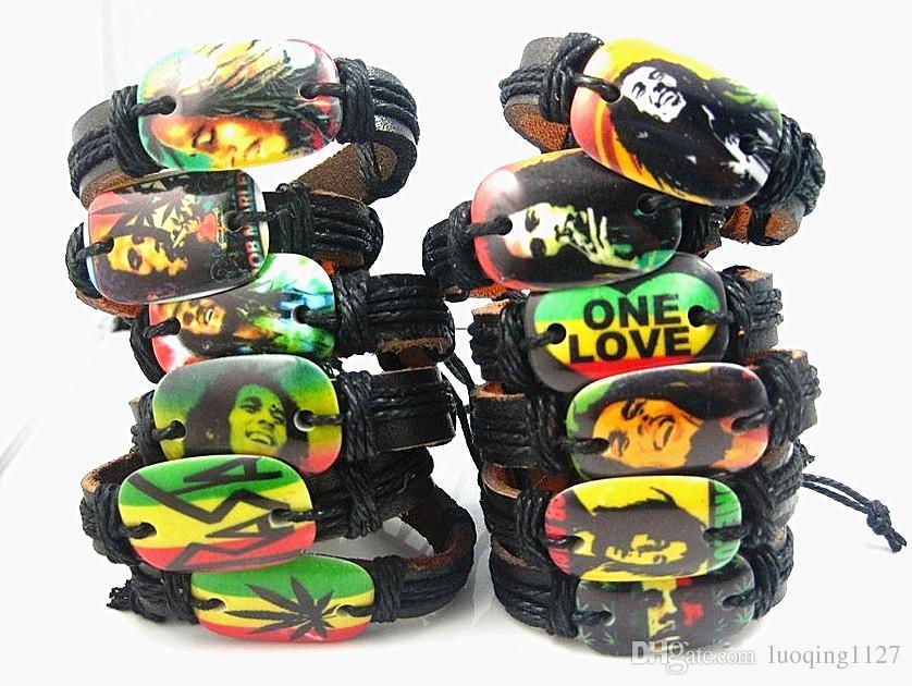 Оптовая продажа оптом смешанные стили ТОП 24 шт. / лот ретро кожа Боб Марли Раста манжеты браслеты новый многоцветные